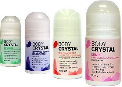 Body CRYSTAL DEODORANT ROLL ON 80ml ~ Alcohol Free, (Choose from 4 Fragrances)