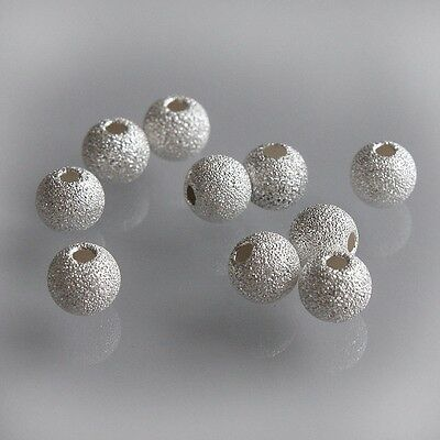 10 x 5 mm Sterling 925 Silver Round Stardust Sparkle Frosted Spacer Beads Charms