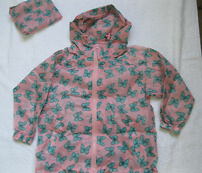 Girls Pink With Green Butterfly Print Pack A Mac / Shower Proof Jacket