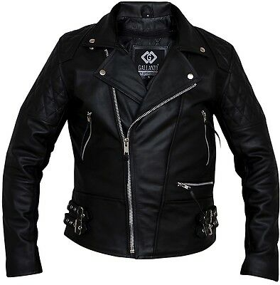 Classic Diamond Armoured Motorcycle Biker Leather Jacket