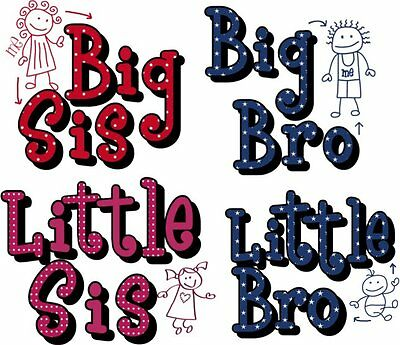 Sister Brother Big Little Iron On T-Shirt Fabric Transfer Or Sticker Wall Decal