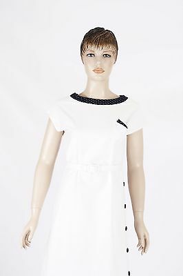 40s White Dress with Contrasting Navy Features