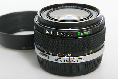 Olympus Zuiko Auto-W 28mm f3.5 Wide Angle Lens - manual focus