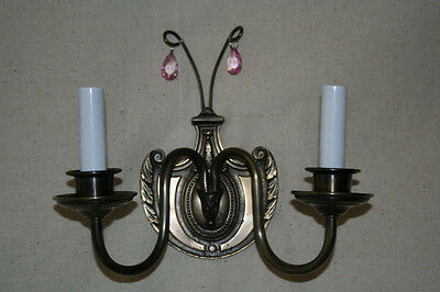Candita Solid Brass Two Arm Wall Sconce with Amethyst Crystals