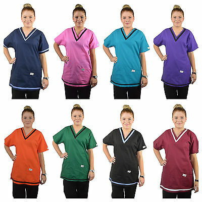 ScrubShine Medical Scrubs/ Spa V Neck Top/ Uniform Nurse-BN Choose Size & Colour