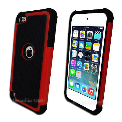 Red Black Tough Impact Case for Apple iPod Touch 5 5th Gen Heavy Duty Cover
