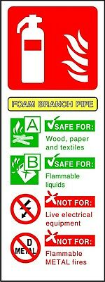 Fire Extinguisher Foam Branch ID warning safety sticker sign self adhesive vinyl