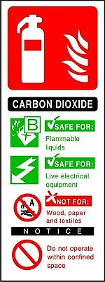 Fire Extinguisher Carbon Dioxide CO2 ID sticker sign warning self adhesive