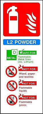 Fire Extinguisher L2 Powder ID sticker sign warning self adhesive vinyl