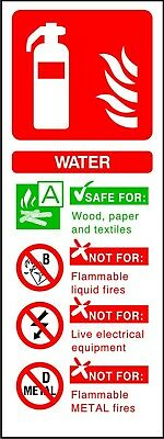 Fire Extinguisher Water ID sticker sign warning self adhesive vinyl