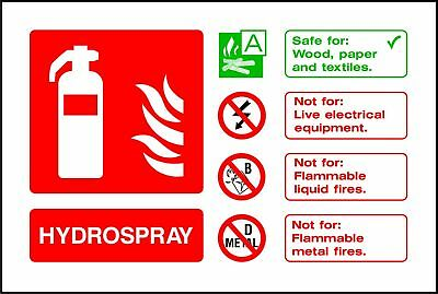 Fire Extinguisher Hydrospray ID warning sticker sign self adhesive vinyl