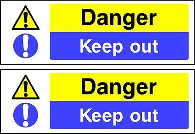Danger Keep Out warning sign 2X 300mm X 100mm self adhesive vinyl decal