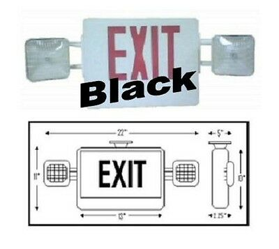 Monarch MON-COM-R-B Combination Emergency Exit Light Black Sign Red LED UL