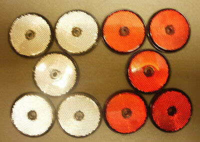 10 x Red & White Round 60mm Reflectors for Driveway Gate Fence Posts & Trailers