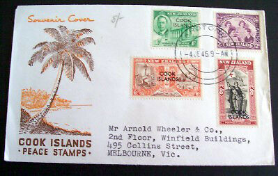 Cook Islands 1946 Peace set on illustrated addressed first day cover