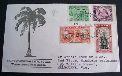 Western Samoa 1946 Peace set on illustrated addressed first day cover