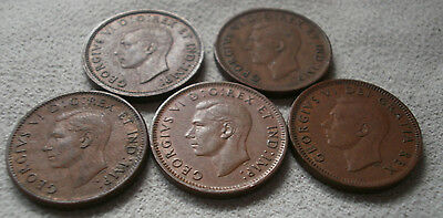 LOT 5 Canada Canadian small cent penny coins 1940 1943 1945 1947 1951