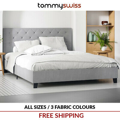 King Queen & Double Size Fabric Bed Frame w Diamond Tufted Bed Head for Mattress
