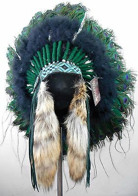 "Genuine Native American Navajo Indian Headdress 36"" diameter PEACOCK TRADITIONAL"