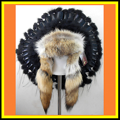 "Genuine Native American Navajo Indian Headdress 36"" BLACK MESA TRADITIONAL"