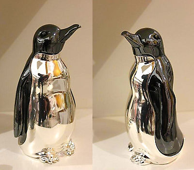 Pinguino in Argento Smaltato Nero