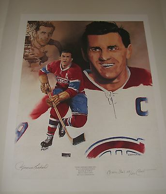 "SIGNED Maurice 'The Rocket' RICHARD Rare Lithograph  L/E Print (23 1/4"" x 18"")"