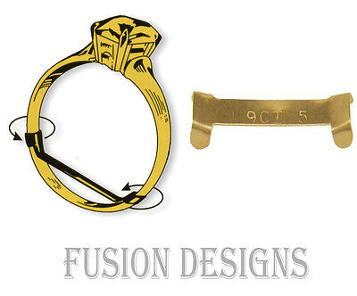 1 X 9 ct Yellow Gold Ring Clip Fits 2mm Wide Ring Size Adjuster Reducer Re-sizer
