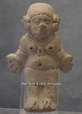 Antique Pre-columbian Jama-Coaque Ceramic Female Figure 300 BC- 400 AD