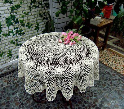 """Vintage Hand Crochet Cotton Tablecloth/Topper/Cover~36"""" Round~Beige~Rural Charm~"""