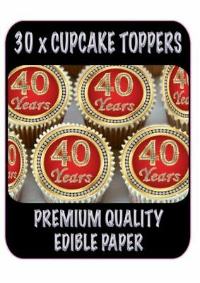 30 X 40Th Birthday Anniversary Edible Cupcake Toppers Thick Rice Paper 1151