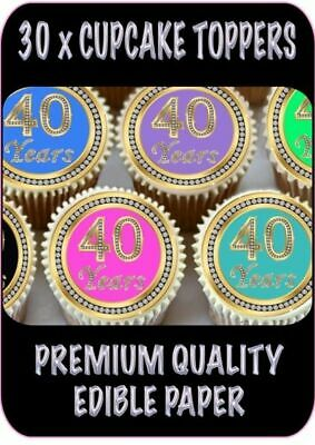 30 X 40Th Birthday Anniversary Edible Cupcake Toppers Thick Rice Paper 1156