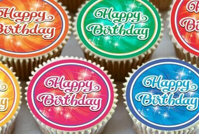 24 X Sparkle Mix Colour Happy Birthday  Edible Cupcake Toppers Rice Paper 1509