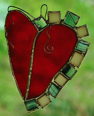 LOVERS HEART Stained Glass Leadlight SUNCATCHER red white black BIRTHDAY GIFTS