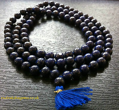 Genuine Lapis Lazuli Japa Mala Rosary 108+1 Beads Prayer Beads Meditation Yoga