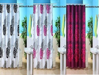 New Designer Polyester/peva Washable Bathroom Shower Curtain With Hooks