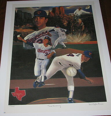 "SIGNED Nolan RYAN - 'Texas Homecoming'  Rare Lithograph L/E Print (30.5""w x 23"")"