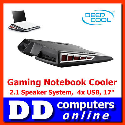 """Deepcool M6 Gaming Notebook Cooler Laptop Stand 2.1-Channel Speakers, 4 USB, 17"""""""