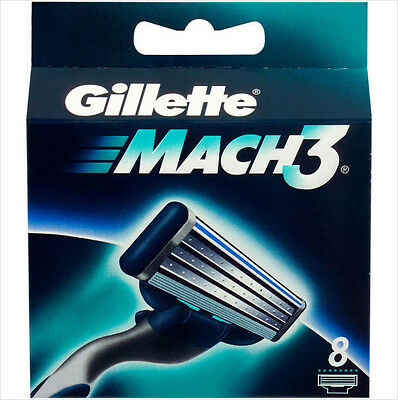 NEW SEALED GILLETTE MACH 3 ( 8 COUNT ) RAZOR REFILL CARTRIDGES GREAT PACK!