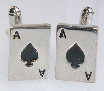 NEW SILVER COLOURED 'ACE OF SPADES' PLAYING CARD CUFFLINKS, BOXED (4171)