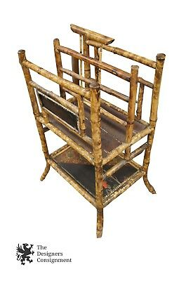 Antique Asian English Tortoise Bamboo Magazine Rack Handle Canterbury Stand
