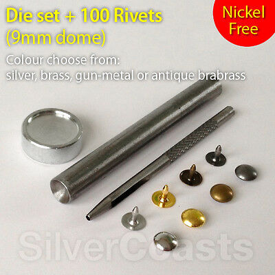 100 Dome Rivets + Die Set Punch Tool Studs Sewing Leather craft Jeans 9mm