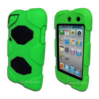Green Tough Protective Heavy Duty Case for Apple iPod Touch 4 4th Gen Cover