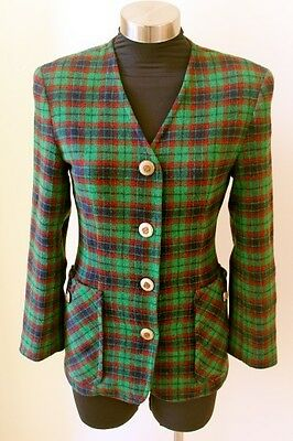 Vintage EUROPEAN Pure WOOL SOFT Plaid vtg ITALIAN BLAZER Jacket  XS to S
