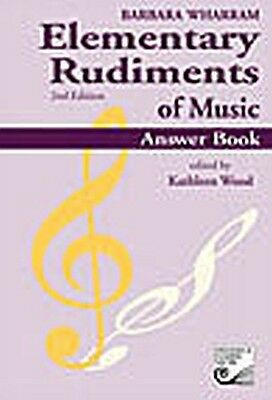 Elementary Rudiments of Music Answer Book by Barbara Wharram 2nd Edition