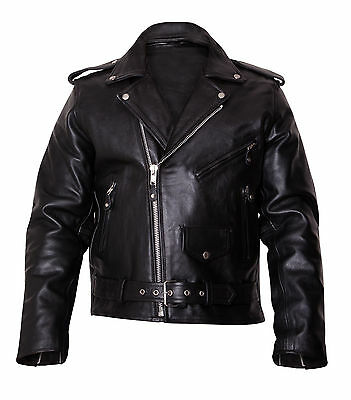 Mens Motorbike Brando Leather Jacket Motorcycle Scooter Jacket Fashion jacket