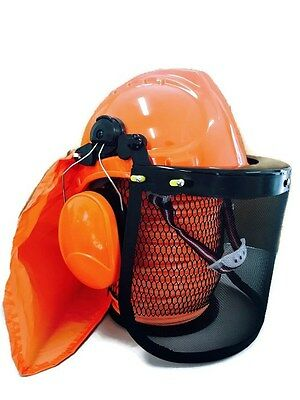 Chainsaw brushcutter safety helmet hard hat mesh visor and earmuffs