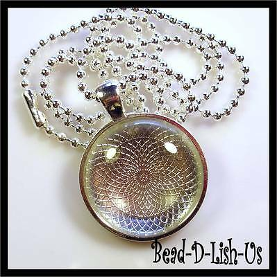 1 x NECKLACE KIT 25mm Round Pendant Setting, Ball Chain, Glass Cabochon - SILVER