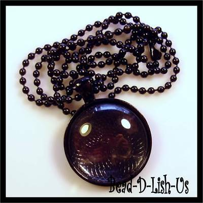 1 x NECKLACE KIT 25mm Round Pendant Setting, Ball Chain, Glass Cabochon - BLACK