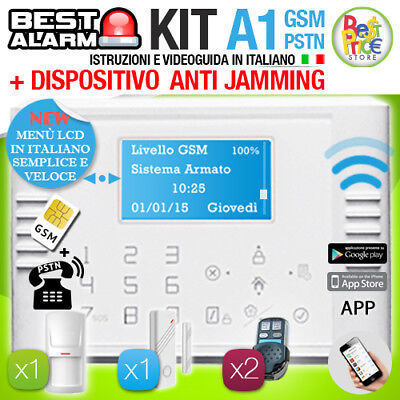 ANTIFURTO KIT A1 ALLARME CASA WIRELESS 433 Mhz GSM PSTN TOUCH  - ANTIJAMMING