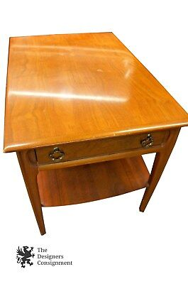 Mid Century Modern Mersman Coffee Table 1 Drawer Shelf Rectangle Blonde Wood